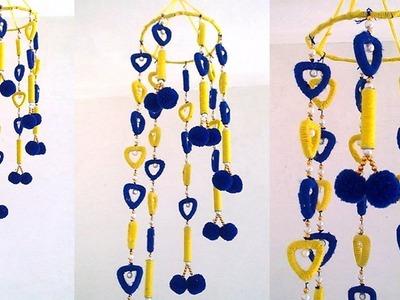 Newspaper & Woolen Craft Idea !!! DIY Easy Newspaper Wind Chime || Pom Pom Wall Hanging Idea