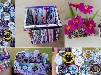 Paper basket ideas.how to make newspaper roll boxes.paper craft idea.paper flower vase.