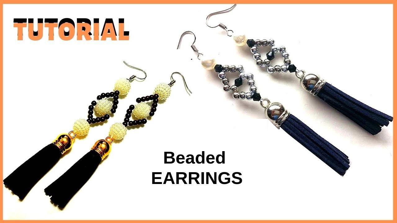 Simple pattern for DIY beaded earrings. How to make earrings.