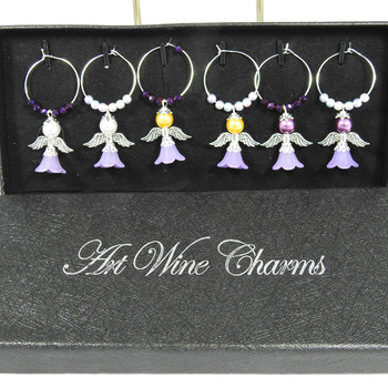 Six Purple Angel Wine Glass Charms In A Box - FREE SHIPPING