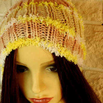 Woman's Hand Knitted Beige Multicoloured Pom Pom Hat - Free Shipping