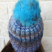Women's Blue And Grey Random Two Styles Hat With A Blue And Grey Pom Pom - Free Shipping