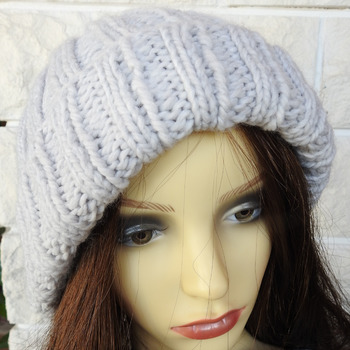 Women's Two Style Light Grey Winter Hat With An Orange And Brown Pom Pom - Free Shipping