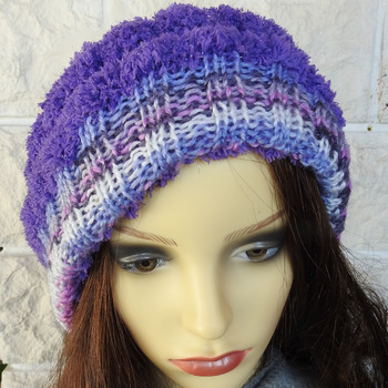 Women's Two Style Random Purple Hat With A White Faux Fur Pom Pom - Free Shipping