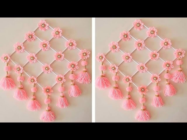 Woolen Craft Idea.How To Make Wall Hanging for Room Decor.Best Out of Waste Woolen Door Hanging