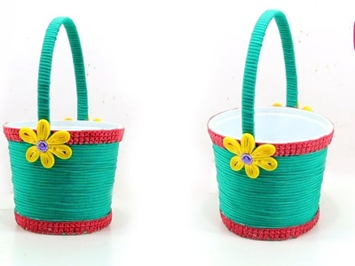DIY BASKET MAKING from WASTE PLASTIC MATERIALS