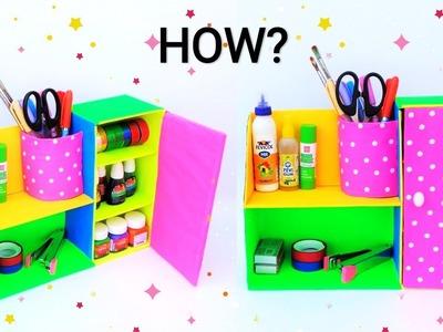 DIY: Desk organizer from waste cardboard box | Best out of waste | Space saving craft idea