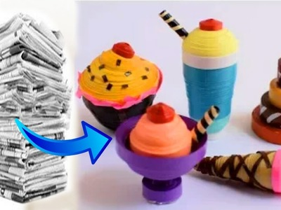 DIY: How to Make Newspaper 3D Cupcake, Ice-cream, Cake.अख़बार के  कागज की मिठाई बनाना सीखे |