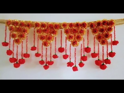 DIY  JHALAR BY PLASTIC RIBBON I BEAUTIFUL DOOR DECORATION WITH POM POM