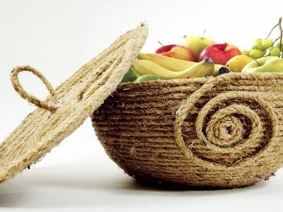 DIY Jute Fruit Basket | Jute Bowl | Crafts Junction