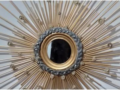 Diy straw wall mirror decor