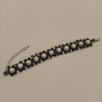Handmade White Pearl Black Bracelet