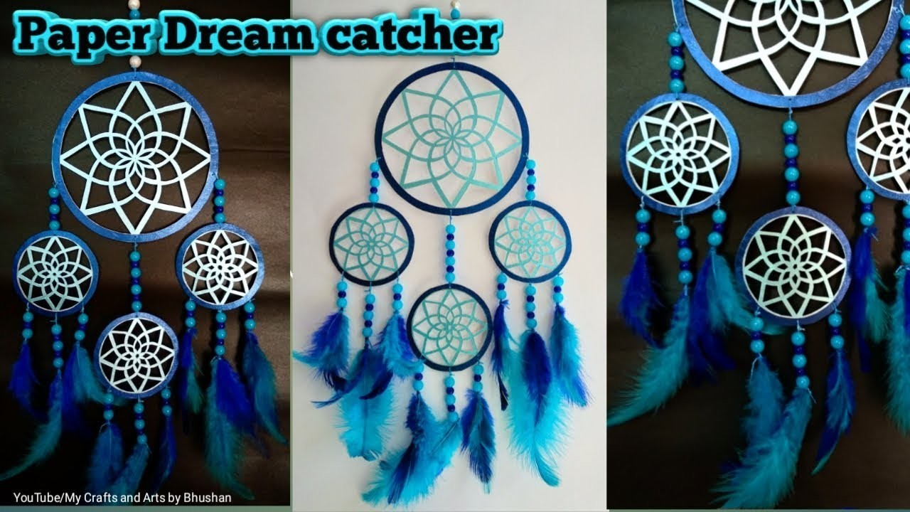 How to make a paper dream catcher for wall hanging decoration, Ramadan Eid craft