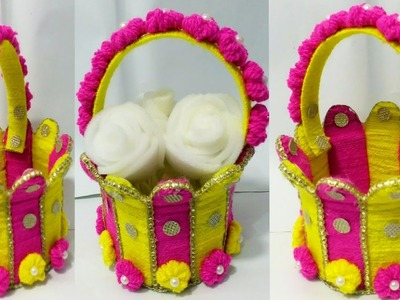 Make Very Easy woolen basket.DIY Basket Craft with wool flower.