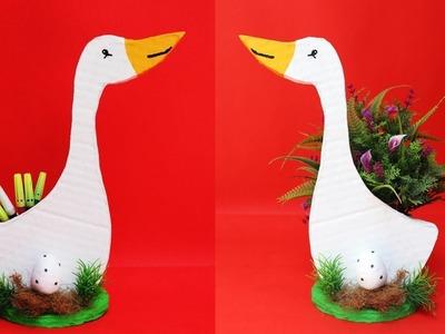 Pen stand making with cardboard || DIY duck flower vase || best out of waste cardboard