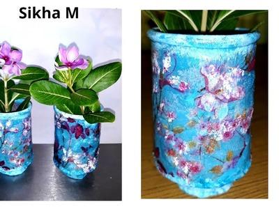 Planter Decoupage | Diy Planter Decoration | Home Decor | Sikha M