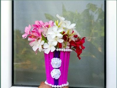 Simple and Amazing Woollen Vase. Woollen vase making ideas. Diy Vase. Ice-cream stick Vase.Craft