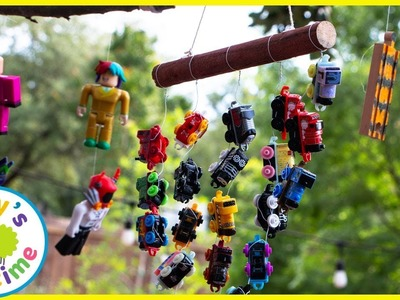 THOMAS AND FRIENDS WIND CHIMES?!?! Learning and Outside DIY Crafts with Izzy's Toy Time!