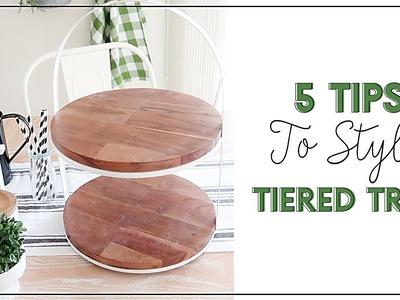 5 Tips to Style Tiered Tray| DIY Farmhouse Decor | How to Style Tiered Tray | Decorate with me