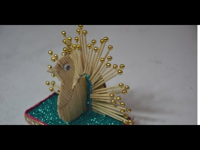 Beast Out Of Waste Craft Idea With Toothpick Peacock,Peacock Making