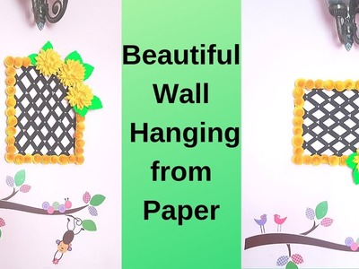 Beautiful Wall Hanging from Waste Cardboard and Paper Flowers | Cheap Room Decoration Ideas