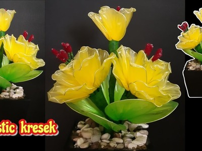 Cara membuat bunga dari plastik | DIY how to make beautiful plastic flowers