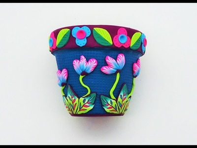 Decorating a Flower Pot with Polymer Clay, a Tutorial.