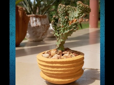 Diy Cement Projects- Concrete pot using rope