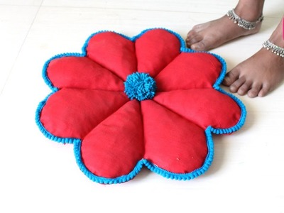 DIY FLOWER SHAPED DOORMAT from OLD SAREE