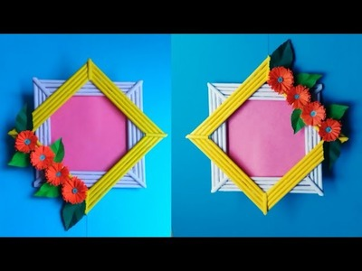 DIY Handmade Photo Frame from Paper Sticks   Easy Paper Photo Frame Tutorial   Handmade Photo Frame