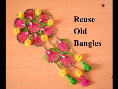 DIY | How to Make Wall Hanging With Wool and Bangles for Home Decoration | Reuse Old Bangles