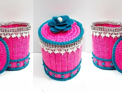 DIY Jewellery Box.Organizer Made from Jute & Popsicle Sticks Best out of waste Popsicle stick craft