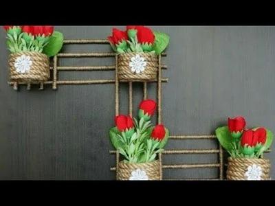 Diy Jute wall hanging flower vase| Jute rope.twine wall decor making at home #jutecraft #wallhanging