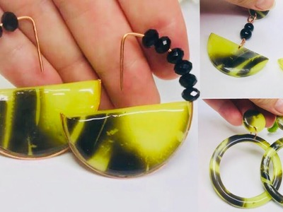 DIY Modern Faux Tortoise Shell Earrings made from Polymer Clay.