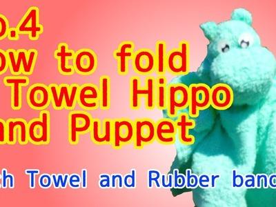 DIY No.4 How to fold A Towel Hippo Hand Puppet like Moomin