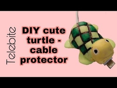 DIY Turtle Telebite with  Polymer clay   Cable protector
