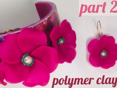 Gorgeous Flower Bracelet and Earrings.Polymer Clay Jewelry. Part 2