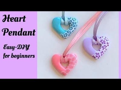 Heart Pendant I Easy-DIY I for Beginners I Polymer clay art