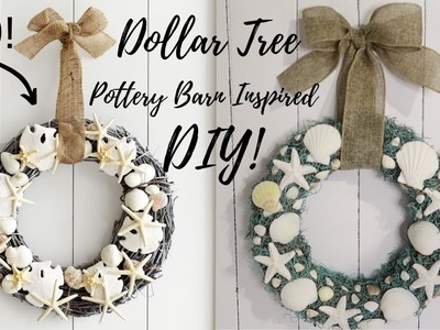 LOOK FOR LESS CHALLENGE   Yami & Casey   DOLLAR TREE DIY POTTERY BARN INSPIRED WREATH