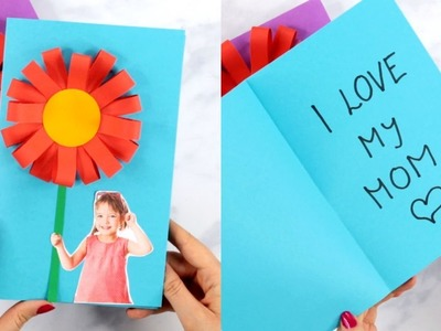 Paper Flower Mothers Day Card - easy paper crafts for kids