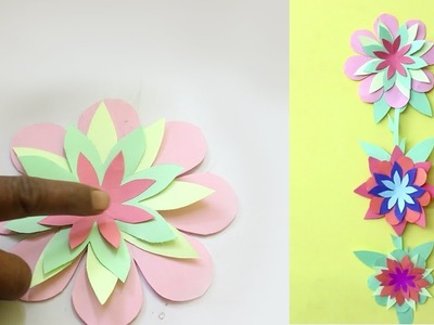 Wall Hanging Flower Craft Idea - Paper Craft For Home Decor | Wall Hanging Craft Idea Easy