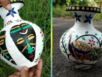 Advance DIY Big Clay Pot Painting || Murari Painting With Acrylic Colours