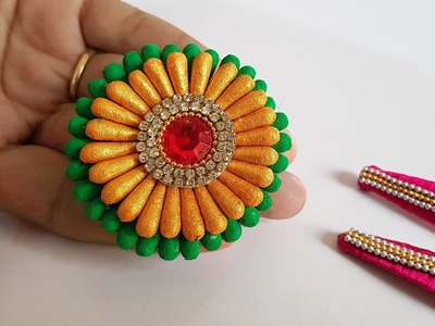 Bridal Hair Jewelry - handmade    Homemade Hair jewelry with Ear buds & Silk Thread