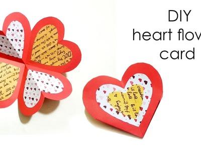 DIY Handmade card.Tutorial For Scrapbook.Valentine's day gift idea.DIY Heart Flower Card