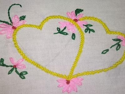 Hand Embroidery : Love Design Bead stitch : Moti Tanka Embroidery