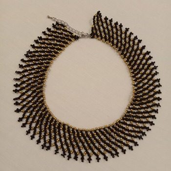 Handmade Black Golden Net Necklace