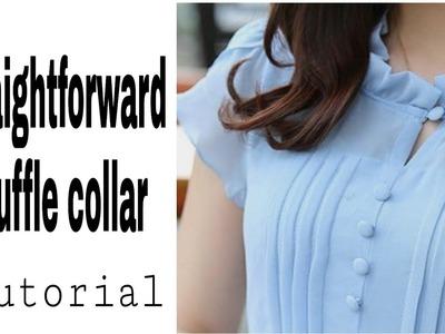 How to  make straightforward  ruffle collar(cutting &stiching)for dress.Shirt  [DIY tutotial]????✂️????✂
