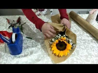 DIY 1 piece flowers bouquet. flower bouquet arrangement. Wrapping Flower bouquet techniques