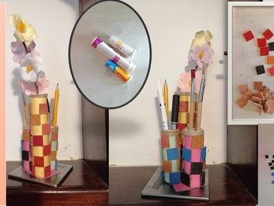 DIY Cum sa faci suport de creioane din tuburi de plastic.How to make desk organizer.Craft idea &Hack