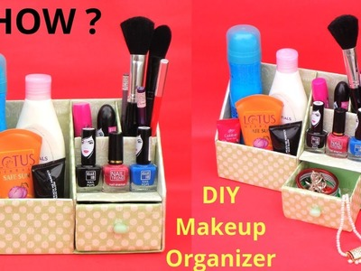DIY: Makeup Organizer from waste Cardboard | Best out of waste | Space saving Room Organizer